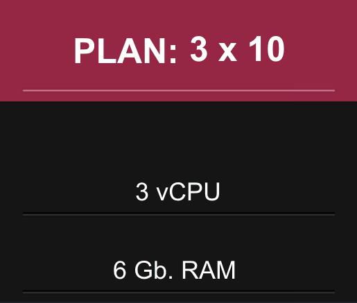 PLAN EN PESOS: 3 CPU x 6 Gb RAM