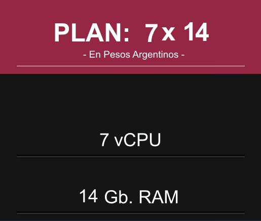 Plan: 7 CPU x 14 Gb RAM en Pesos Argentinos