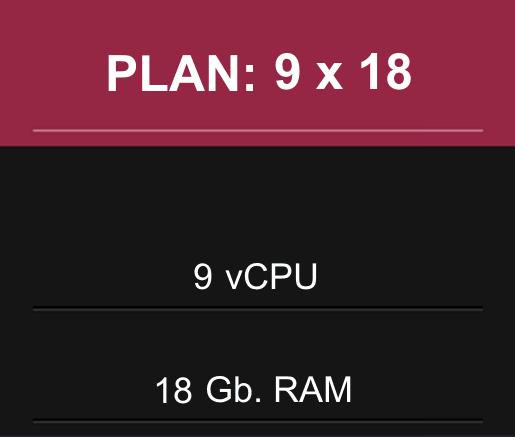 9 CPU x 18 Gb RAM