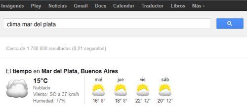 Clima en Google